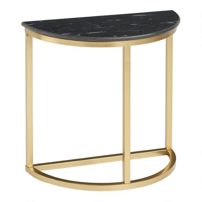 Half-Round Black-Granite and Gold-Metal Tanis Accent Table
