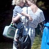 A cute moment between Ashlee Simpson and Bronx Wentz.