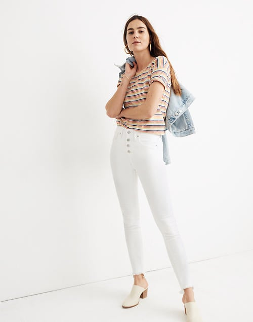 """Madewell Petite 10"""" High-Rise Skinny Jeans in Pure White"""