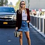 Wear It With a Velvet Blazer, Denim Skirt, and a T-Shirt