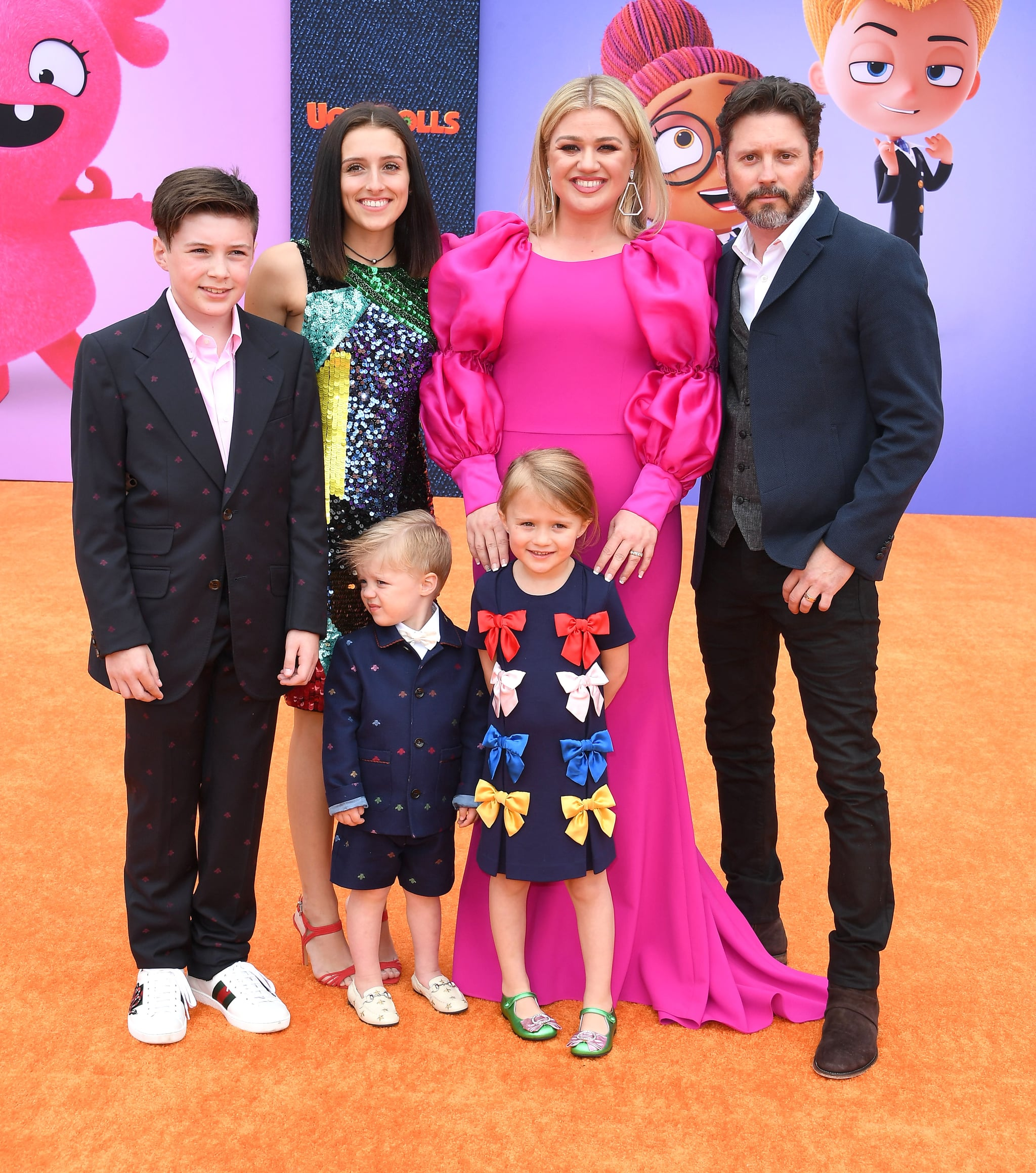 LOS ANGELES, CALIFORNIA - APRIL 27: Seth Blackstock, Remington Alexander Blackstock, Savannah Blackstock, Kelly Clarkson, River Rose Blackstock, and Brandon Blackstock  arrives at the STX Films World Premiere Of