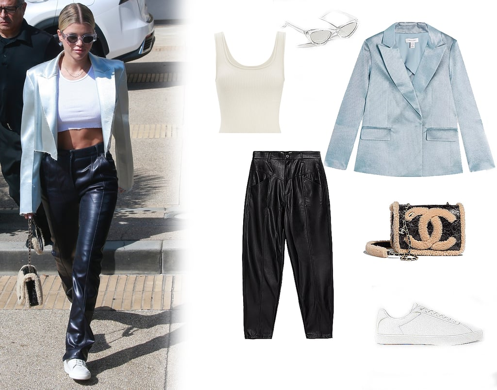 Sofia Richie Wears Leather Pants, Sneakers, and a Chanel Bag