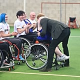 Harry hugged a member of the Lancashire Bombers Wheelchair Basketball Club in 2017.