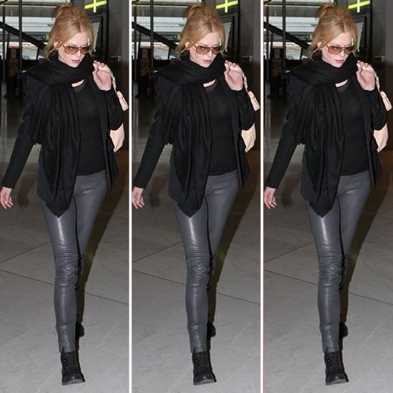 Nicole Kidman Gray Leather Pants