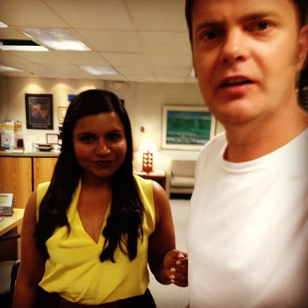 Mindy Kalin joked around with Rainn Wilson on the set of The Office. Source: Instagram user mindykaling