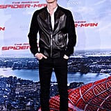Andrew Garfield rocked a leather jacket at the Berlin photocall for The Amazing Spider-Man in June 2012.