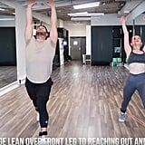 On your last rep, stay in that lunge position and lean over your front leg. Then reach up over your head while leaning back. Repeat this eight times.