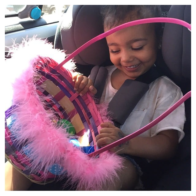 North had a huge grin on her face as she looked at her Easter eggs.