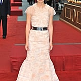 Keira Knightley wore her hair up to the premiere in London.