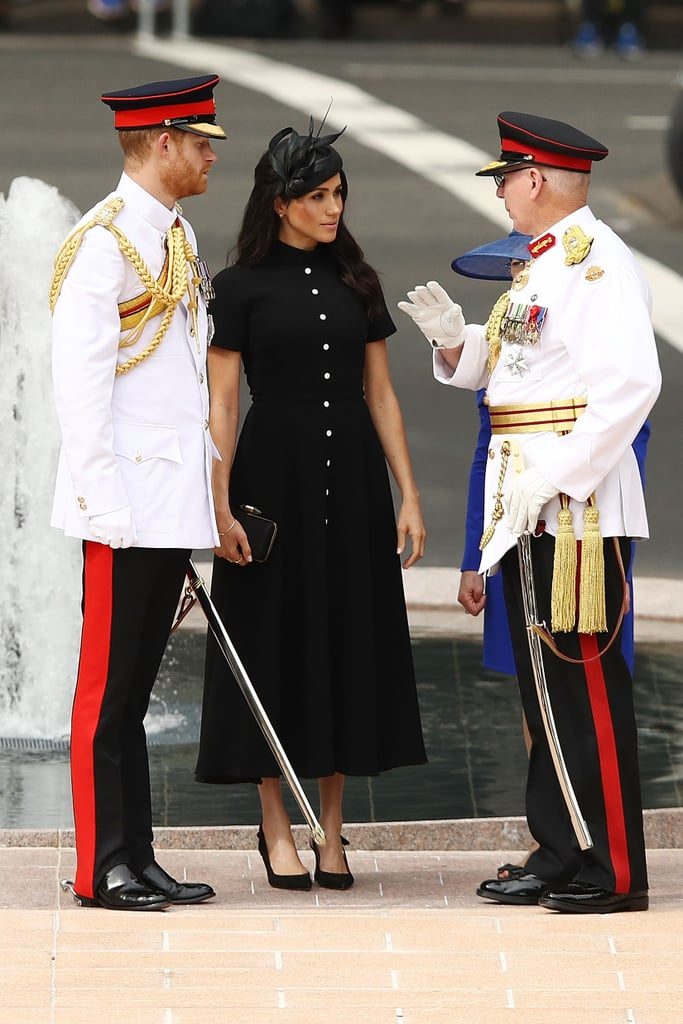 During their Australia visit in 2018, Meghan and Harry visited the ANZAC Memorial at Hyde Park. While Prince Harry dressed in uniform, Meghan kept things tasteful in a button-front Emilia Wickstead midi, complete with her Aquazzura slingbacks and a Philip Treacy fascinator.