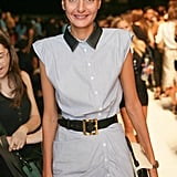 Giovanna Battaglia stepped out in a ruched shirtdress at the Michael Kors show.