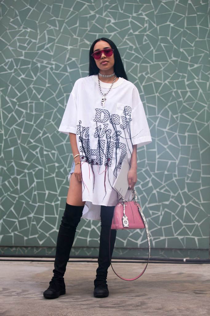 71920f67 Wear an Oversize T-Shirt as a Dress and Style It With Thigh-High ...