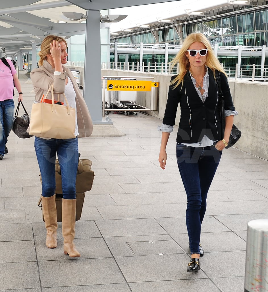 Great pals Cameron Diaz and Gwyneth Paltrow dressed up to take off from London's Heathrow airport together yesterday. Gwyneth, in skinny jeans and white Wayfarers, headed in alongside Cameron to browse for snacks and magazines before boarding. The good friends are apparently headed to NYC following a week of fun in England. Gwyneth and Cameron joined the queen's husband, Prince Philip, last Tuesday for the reopening of the city's Arts Club, a bash at which Ms. Paltrow even performed! Next up, Cameron supported their mutual pal Jude Law at his SoHo performance of Anna Christie before reuniting with Gwyneth at Stella McCartney's second 40th birthday party. It seems Gwyneth and Cameron didn't, though, join in on the latest McCartney event — Stella's father Paul McCartney married Nancy Shevell yesterday, and they celebrated with a small reception in their yard.