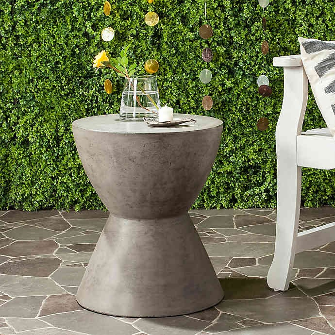 Bed Bath & Beyond Safavieh Athena Concrete Accent Drum Table