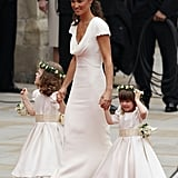 Pippa Middleton in Alexander McQueen by Sarah Burton, young bridesmaid's dresses in Nicki Macfarlane