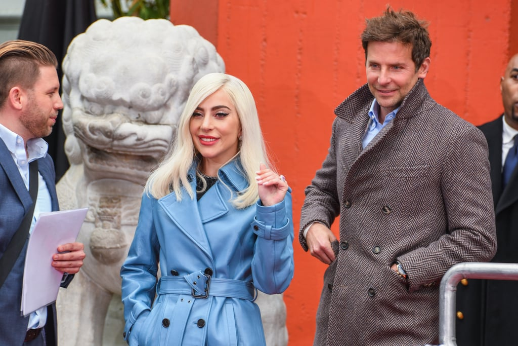 9f1bf0c016f Lady Gaga s Blue Leather Trench Coat