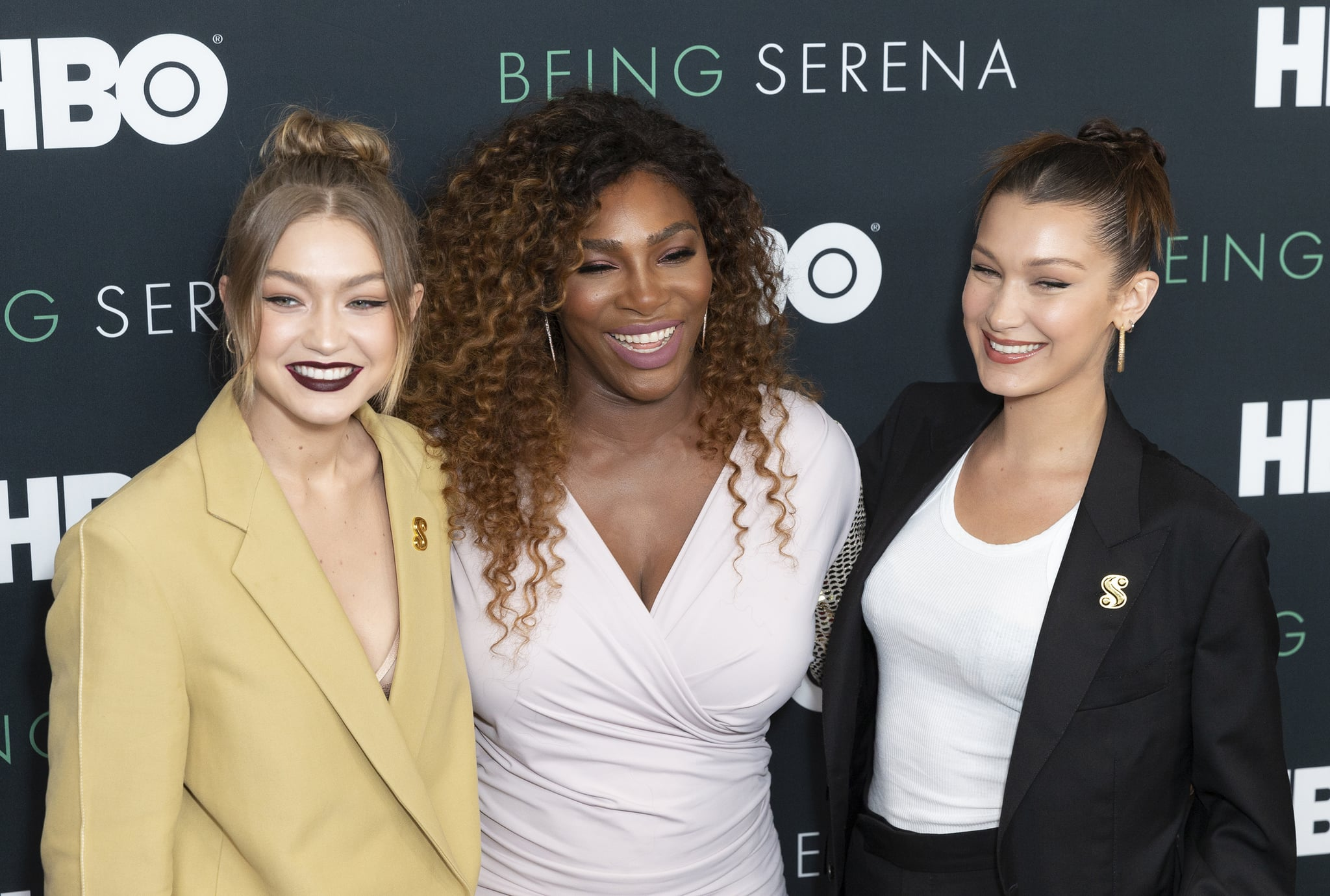 TIME WARNER CENTER, NEW YORK, UNITED STATES - 2018/04/25: Gigi Hadid, Serena Williams and Bella Hadid attend premiere HBO documentary Being Serena at Time Warner Center. (Photo by Lev Radin/Pacific Press/LightRocket via Getty Images)