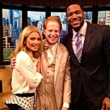 Jesse Tyler Ferguson stopped by to chat with Kelly Ripa and Michael Strahan. Source: Instagram user kellyandmichael