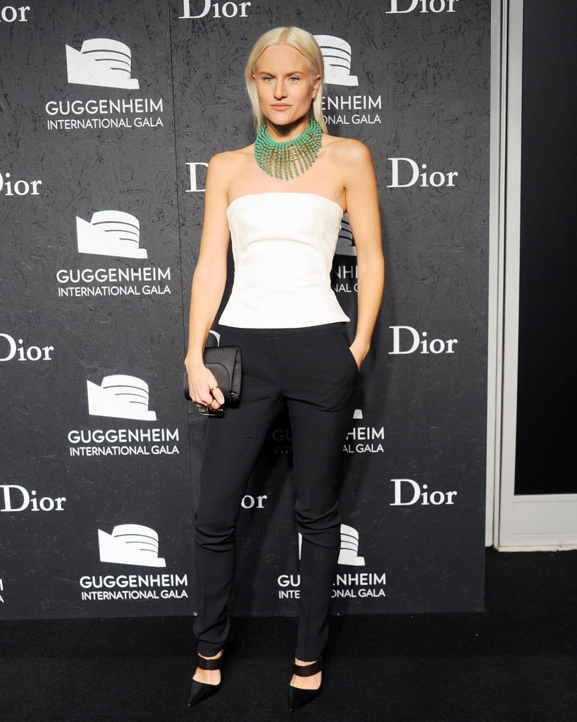 Olympia Scarry made the most of her accessories at the Dior Guggenheim bash.