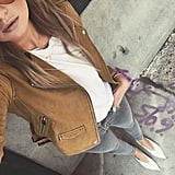 Under a Brown Leather Jacket With Pointed-Toe Flats