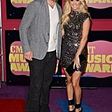Carrie Underwood posed with husband Mike Fisher at the CMT Music Awards.