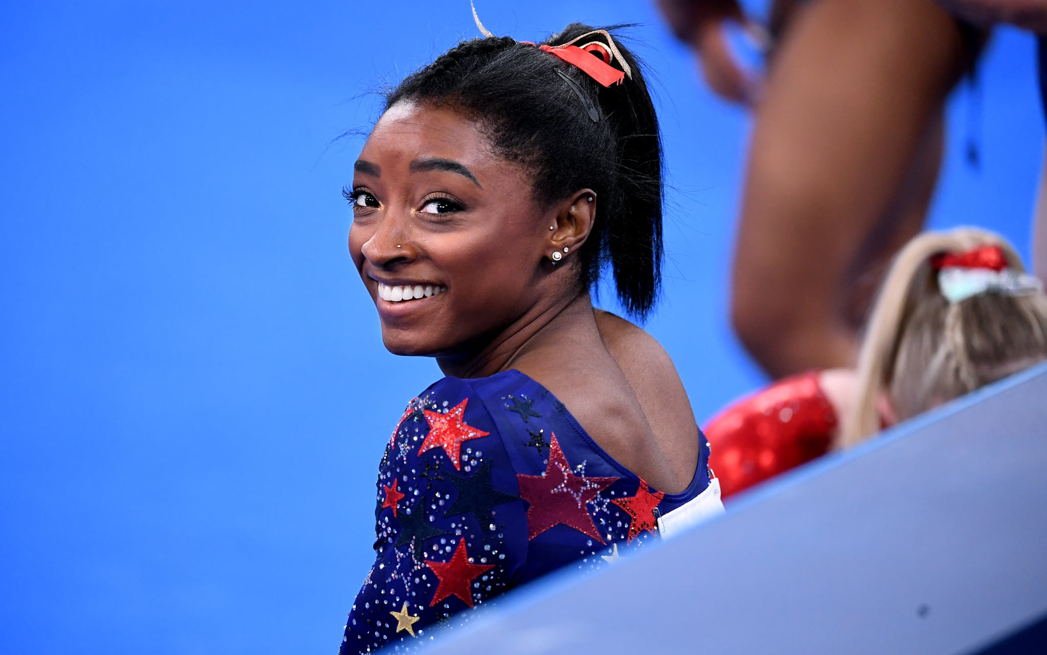 -TOKYO,JAPAN July 24, 2021: USAs Simone Biles smiles in between sessions in the womens team qualifying at the 2020 Tokyo Olympics.  (Wally Skalij /Los Angeles Times via Getty Images)