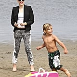 Gwen Stefani played in the sand with her son Kingston during their beach day in LA this May.