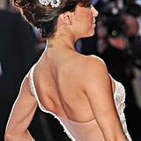 Eva Longoria dressed up a beehive with two brooches used as hair slides. Make sure you use a couple of hair grips to keep heavy jewellery in place in your hair, especially if it's expensive!