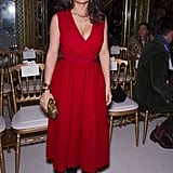 Salma Hayek donned a red dress in Paris.