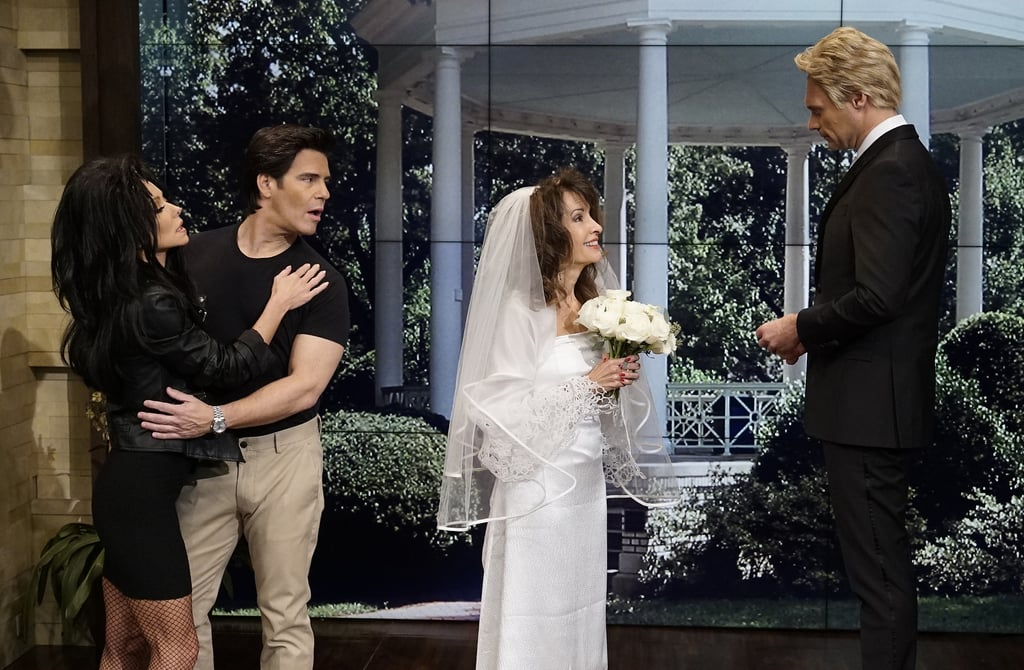 Susan Lucci portraying Erica Kane and Ryan Seacrest dressed as Jackson Montgomery recreate the wedding scene from All My Children.