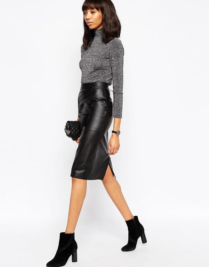 Asos Midi Pencil Skirt in Leather ($138)