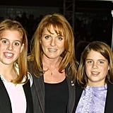 With her mum, Sarah Ferguson, and sister, Princess Eugenie, in 2001.