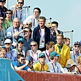 David Beckham and sons Romeo Beckham, Cruz Beckham, and Brooklyn Beckham cheered in the stands.