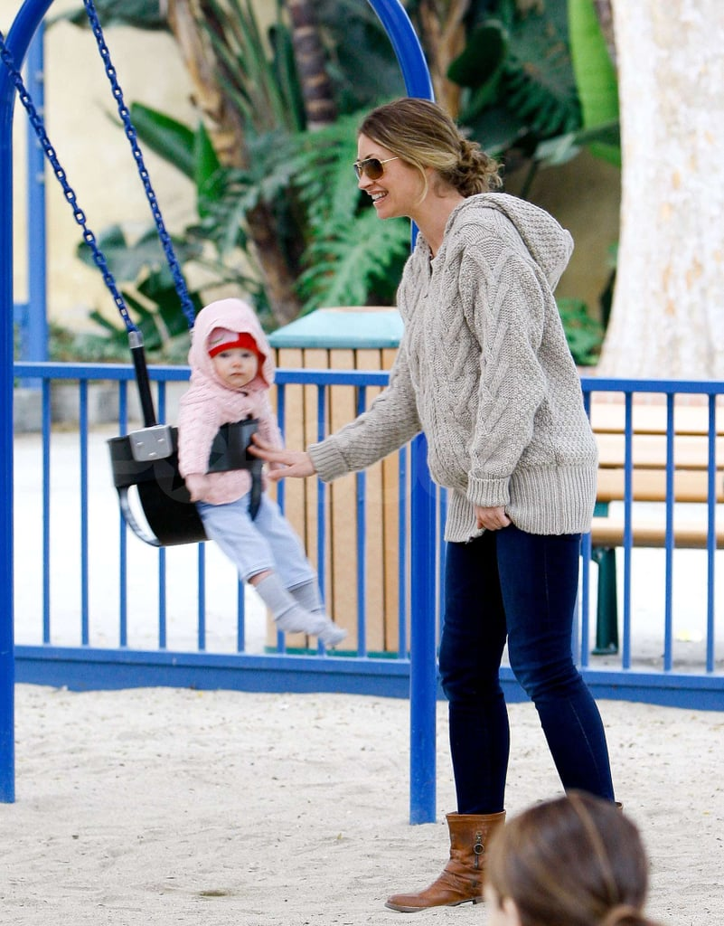 Rebecca Gayheart took her daughter Billie Dane for yet another playdate at the park in LA yesterday. Her little one has done lots of growing up since she made her debut on the cover of Us Magazine in the Spring. The proud parents have spent lots of time with their new addition since her birth, but they've also enjoyed some adults-only date nights between their many family outings.