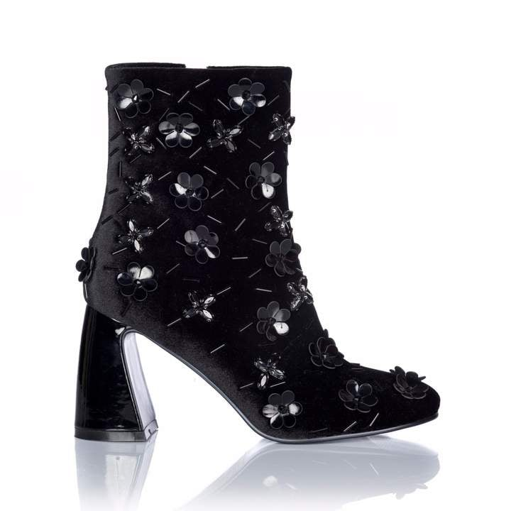 Nissa Ankle Velvet Boots with Shiny Insertions