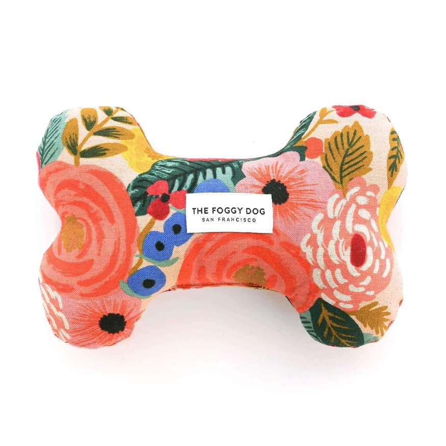 Painted Peonies Natural Dog Squeaky Toy