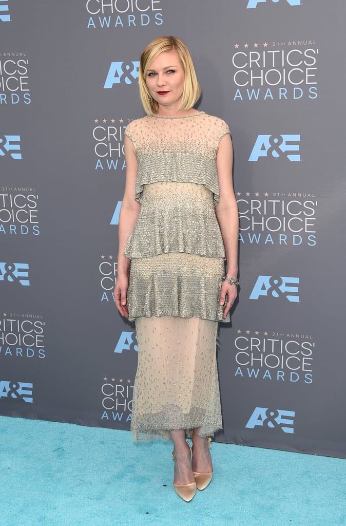Kirsten Dunst in a silver-beaded Chanel Haute Couture gown