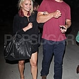 Jessica Simpson and Eric Johnson leave Adele's show.