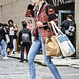 Fringe Jacket Outfit Idea: Jeans + Slingbacks
