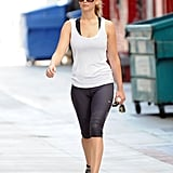 Jennifer Lawrence pulled her hair back for the gym.