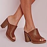 Missguided Peep Toe Block Heel Mules Tan ($51)