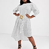 ASOS Curve Printed Midi Tea Dress With Asymmetric Skirt and Woven Buckle