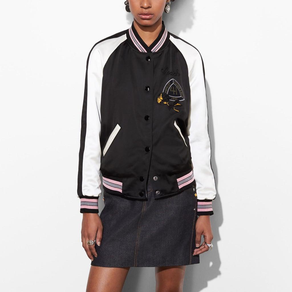 Coach Reversible Satin Jacket in Black Multi ($595)