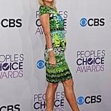 Paris Hilton wore bright blue shoes.