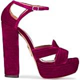 Aquazzura Pink Velvet Ava Plateau 150 Platform Sandals