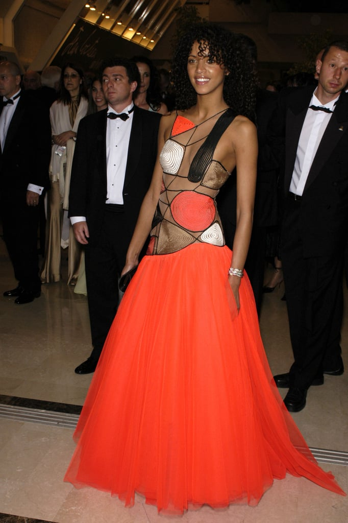 Model and actress Noémie Lenoir donned a colorful cutout gown in 2003.