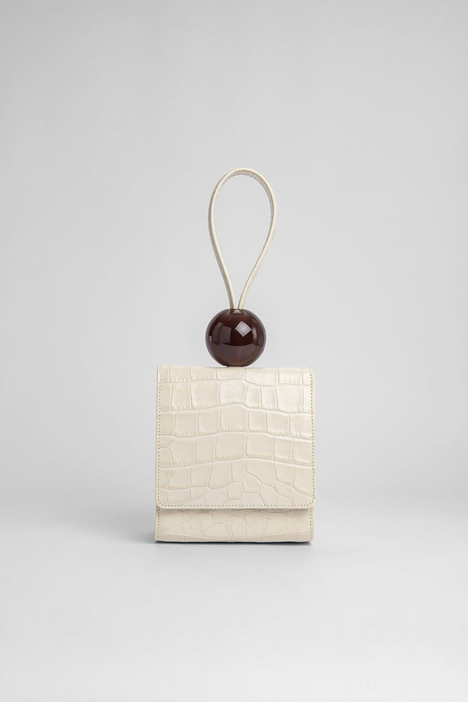 By Far Ball Bag Cream Croco Embossed Leather