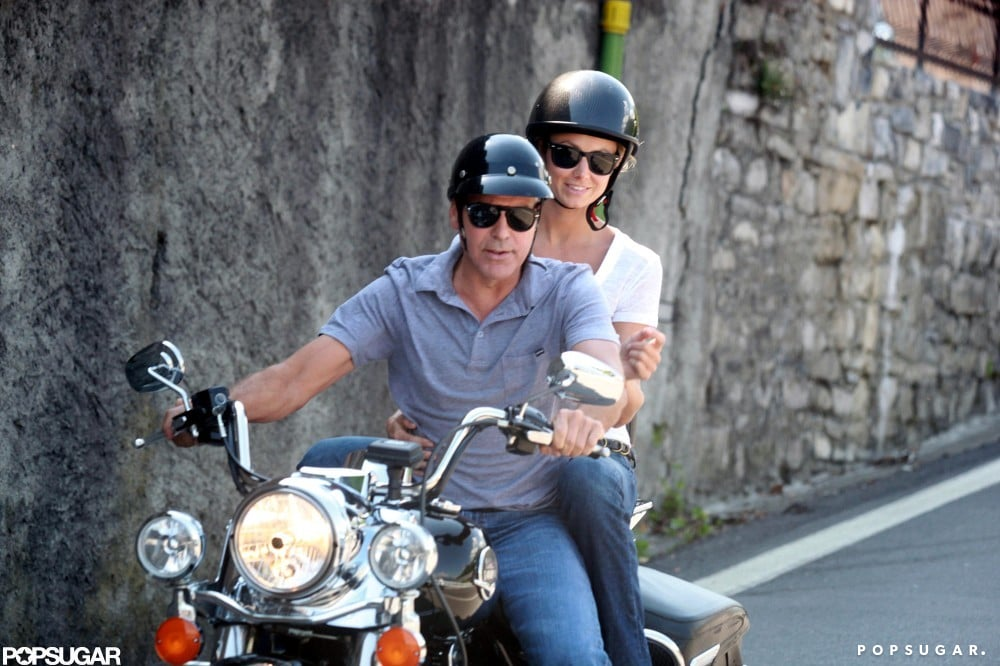Stacy Keibler hopped on the back of George Clooney's motorcycle for a ride around Lake Como today. They've been hanging out all week at George's Italian getaway. George and Stacy went for a boat ride with friends on Monday and were spotted out to dinner at Il Gatto Nero on Wednesday. The couple are coming up on their one-year anniversary, and it looks like they're celebrating in style. They've had no shortage of fun travels, though, and also popped up in Mexico earlier this month. George will have even more to celebrate if he wins the PopSugar 100, so make sure to vote for him and your other favorite stars before the contest ends on Sunday.