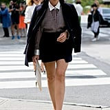 Miroslava Duma got geeky-chic in a collared shirt and specs.