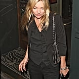 Kate Moss spent the night at the Groucho Club.